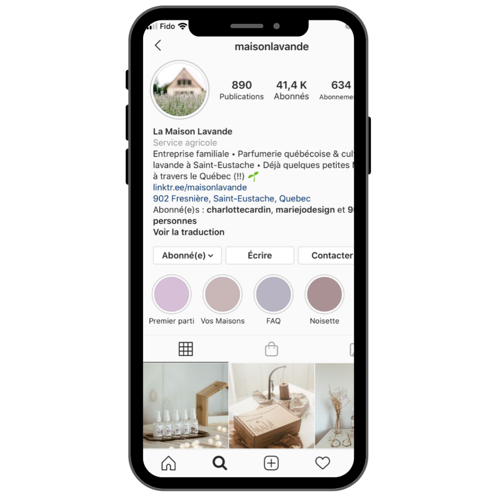 Profil Instagram maison lavande